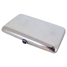 Sterling Silver Cigarette Case with Sapphire Hinge, Early 1900s