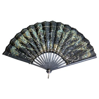 Edwardian Hand Fan, Hand Painted with Golden Spangles, Europe 1900-1915