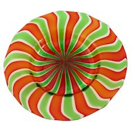 Murano Art Glass Dish, Green and Red Stripes, Italy Mid Century