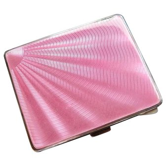 Art Deco Guilloche Pink Enamel Solid Silver Cigarette Case, Adie Brothers Ltd, 1932