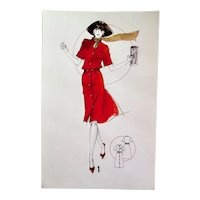 Original French Fashion Drawing, Ink on Paper, 1980s