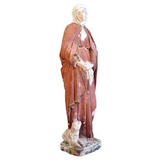 Antique French Statue of a Saint with Dog, 1800s / Early 1900s