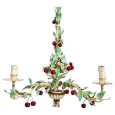 Vintage Tole Chandelier with Cherries, Early to Mid Century