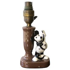 Vintage Mickey Mouse Lamp, Glazed Terracotta, first half 1900