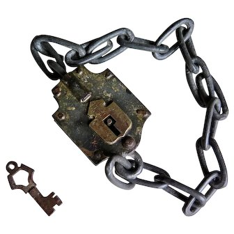 Antique Large Padlock with Chain and Key, 19th Century
