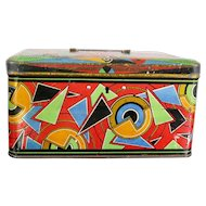 Art Deco Tin Box with Colorful Abstract Motives, Early 1900s