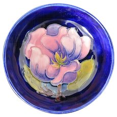 "Moorcroft ""magnolia"" pin dish, pink flower on deep blue background"