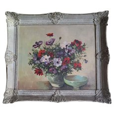 Large Oil Painting, Still Life Flowers, Framed, Early 1900s