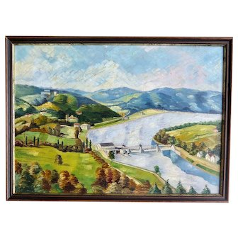 Impressionist Painting, Landscape with River, Early XX Century