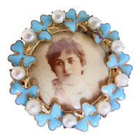 Photo Pin Brooch, Enamels and Faux Pearls, Early 1900s