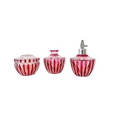 Val St. Lambert Cranberry and Clear 3 Pieces Vanity Set, Art Deco