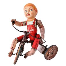"Vintage Tin Toy ""Kiddy Cyclist"" Boy, 1930-40s"