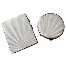 Solid Silver Guilloche White Enamel Cigarette Case and Compact, 1930s