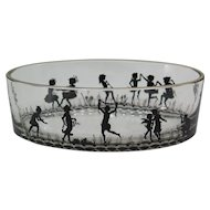 Rare hand painted black enameled glass trinket tray by Adolf Beckert, C.1920.