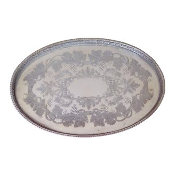 English Silver Plate Gallery Tray, Mid Century