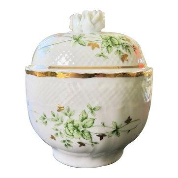 Vintage Ceramic Bombonniere with Roses, Hollohaza Hungary XX Century