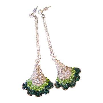 Vintage Rhinestone Dangling Earrings, Gingko Leaf