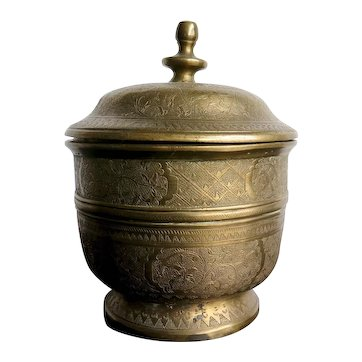 Vintage Indian Lidded Pot, Mid Century