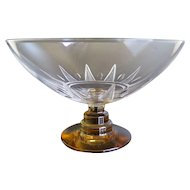 Val Saint Lambert Art Deco Crystal Footed Compote, Early 1900s