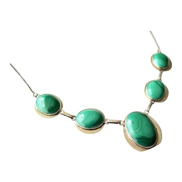 Modernist Sterling Silver and Malachite Vintage Necklace, ca. 1960