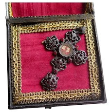 Georgian Large Cross with Relics in Original Box, 1800s