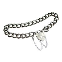 Sterling Silver Engraved Curb Link Bracelet with Heart Padlock, Mid Century