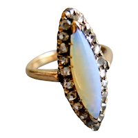 Antique Opal and Diamonds Marquise Ring, end 1800s to early 1900s