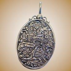 Victorian Sterling Silver Chatelaine Mirror Pendant, Birmingham 1890