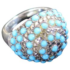 Art Deco Dome Ring, Enameled Silver and Marcasites, Early 1900s