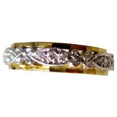 Half Eternity Ring, Yellow and White Gold with Diamonds, XX Century