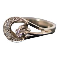 Crescent Moon Ring, White Gold and Diamonds, XX Century