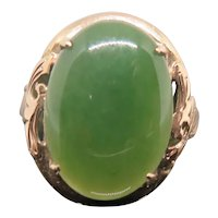 Jadeite Cabochon Ring, 9k Rose Gold Ring, Early 1900s