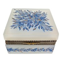 Antique Square Opaline Glass Casket with Hand Painted Flowers