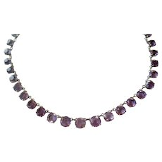 Antique Amethyst Silver Riviere Necklace, Turn of the Century