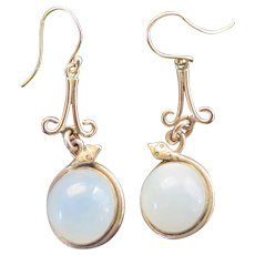 Antique Moonstone 14k Gold Earrings with Snakes, Early 1900s