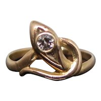 14k Gold Snake Ring with 0.10 Carats Diamond, XX Century