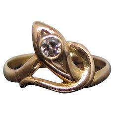 14k Gold Snake Ring with 0.10 Carats Diamond, XX Century