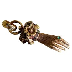 Antique Georgian Gold Muff Chain Figural Clasp, Hand with Emerald Ring, Early 1800s