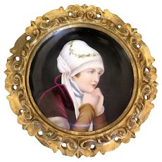 Hand Painted Porcelain Plate with Gilt Wood Frame, Woman Portrait, Early 1900s