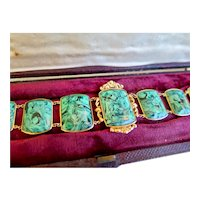 Antique 18ct Gold and Simulated Malachite Bracelet in Original Etui, 1800s