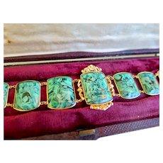 Antique 18ct Gold and Simulated Malachite Bracelet in Original Etui, 1800s