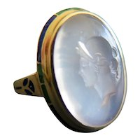 Antique Moonstone Intaglio Ring with Enamels, Early 1900s