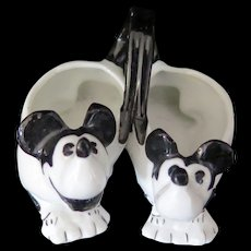 Antique B/W Mickey Mouse salt and pepper figurine, made in Germany, 1930s