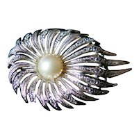 Mid century silver brooch with colorless rhinestones. Gorgeous