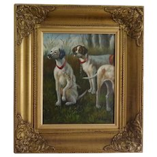 RESERVED *** Oil on canvas, hunting dogs by V. Kamps (Belgium) - two pointer dogs (and a half!) oil painting