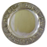 "Silver metal dish by Calderoni for Motta, plate for ""Panettone"" (Italian Christmas cake)"