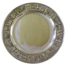 "Silver metal dish by Calderoni for Motta, plate for ""Panettone"" (Italian Christmas cake)"