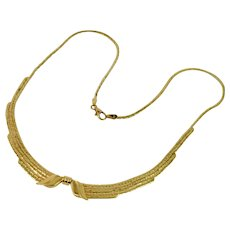 Bow Chain Necklace in 14k Yellow Gold Estate Jewelry