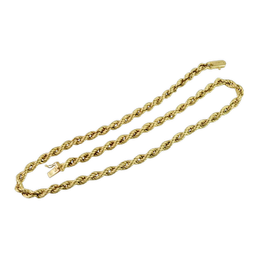 """18k Yellow Gold Thick 4.5 mm Solid Rope Chain Necklace Italy 16"""""""