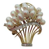 Vintage 14 Karat Yellow Gold Basket Pendant & Brooch